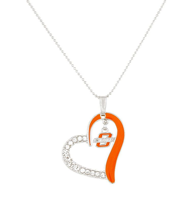Look at this Oklahoma State Cowboys Heart Pendant Necklace on #zulily today!