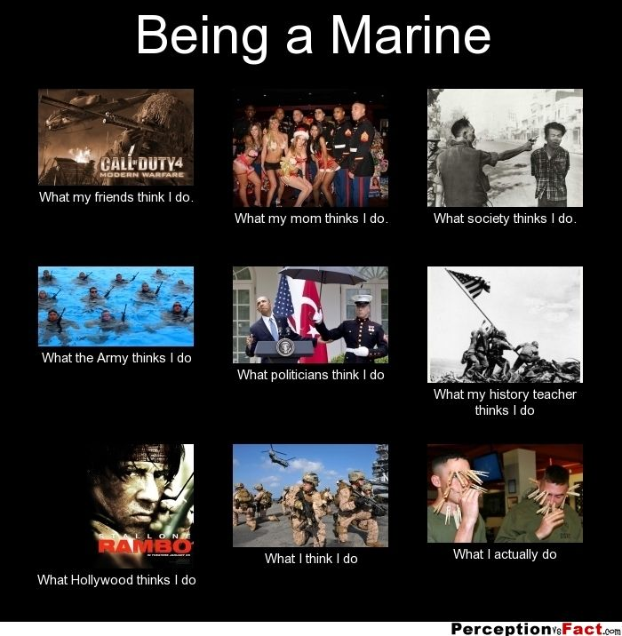 Being a Marine... - What people think I do, what I really do - Perception Vs Fact