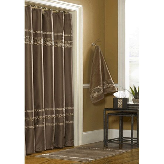 Mosaic Mocha Brown Shower Curtain by Croscill