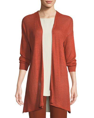 d1ffef988ae TX4VX Eileen Fisher Organic Linen Tencel Open Cardigan