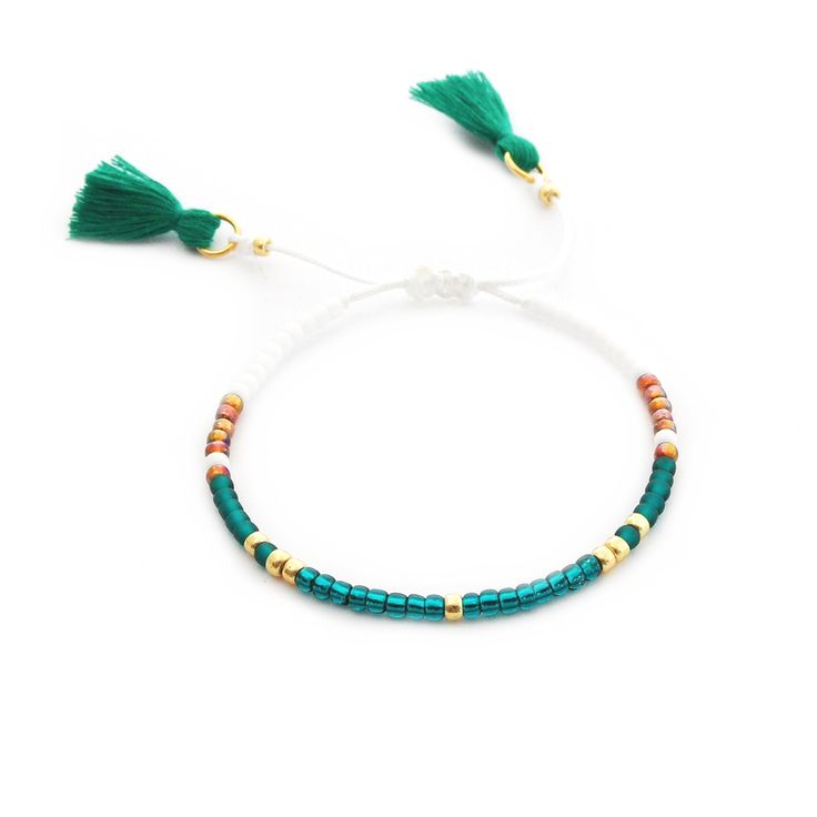 Minimal Bracelet | Bootle Green | Delicate Beaded Bracelet Made Of Seed Beads | Boho Bracelet Tassel | Handmade Jewelry | Toho Beads |