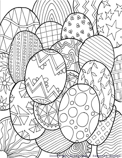 Free Easter Egg Coloring Page {From Doodle Art Alley} @ Blissful Roots