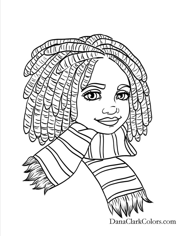 Black kids coloring page