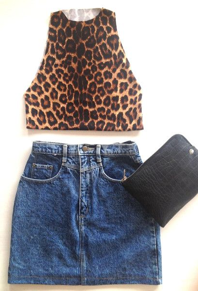 BOSTLIMITED.COM LEO CROP TOP  These leopard print crop tops are super sexy with high waisted shorts or skirt.  Each top has been hand made with overlocked finished edge and are one of a kind.  The perfect animal addition to your wardrobe. #leopard #print #cropped #top #crop #vintage #denim #summer #fashion