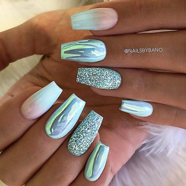 Repost Aqua Blue Ombre Aurora Effect And Glitter On Coffin Nails Picture And Nail Design Gorgeous Nails Trendy Nails Ombre Nails
