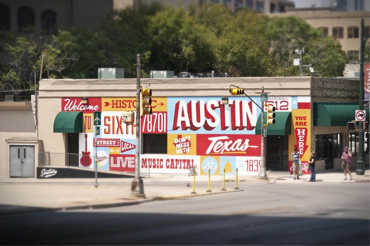 Austin mural at corner of 6th street and i 35 austin for Austin mural location