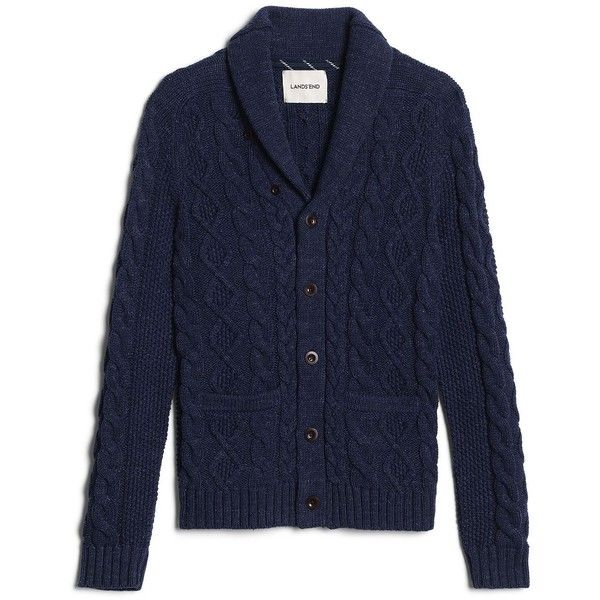 Canvas by Lands' End Men's Cotton Cable Cardigan Sweater ($149) ❤ liked on…