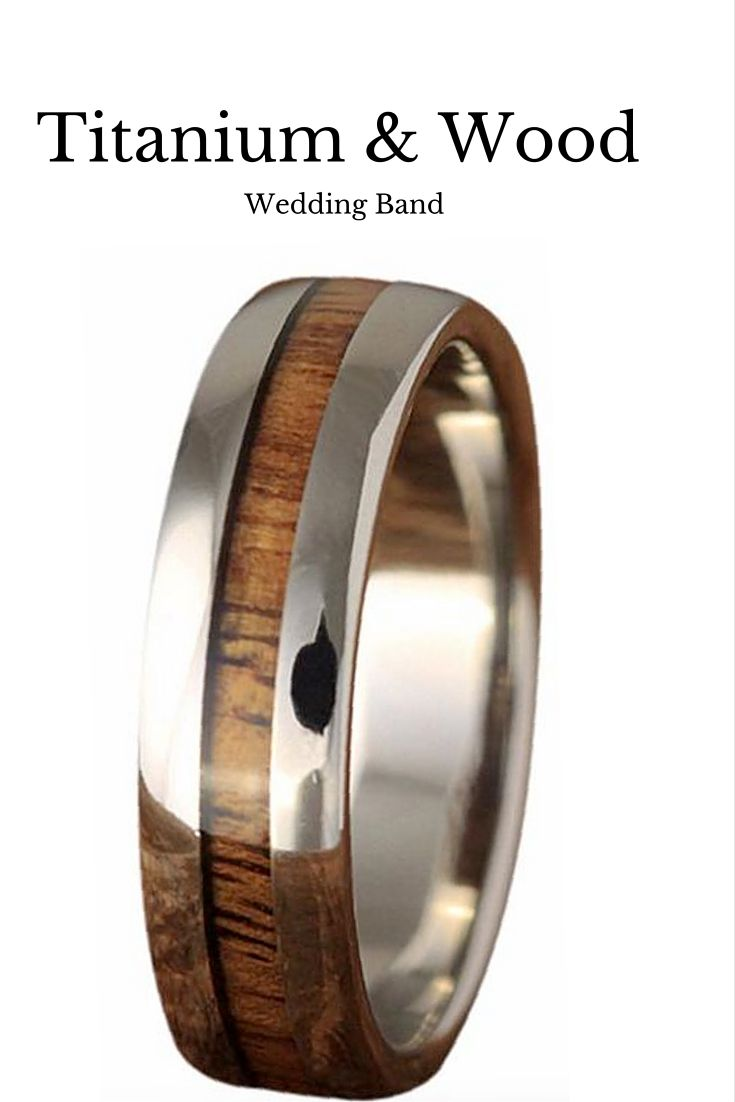 Beautiful Mens Wood Wedding Band. This Wedding Band Is Made Out Of Titanium  And 100