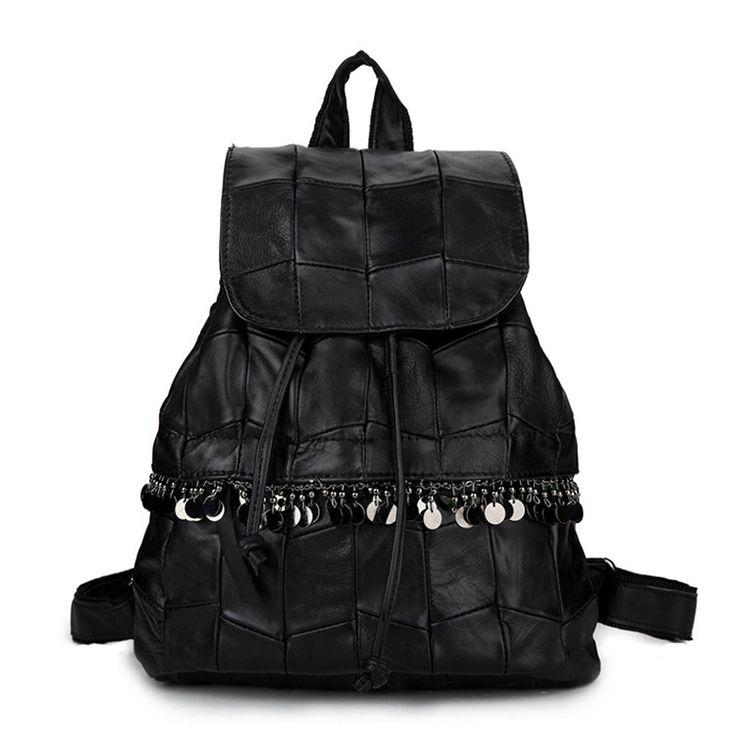 Venta de mochila flip de auténtica piel de oveja con lentejuelas Bolsos de estilo coreano [AL93003] - €48.87 : bzbolsos.com, comprar bolsos online