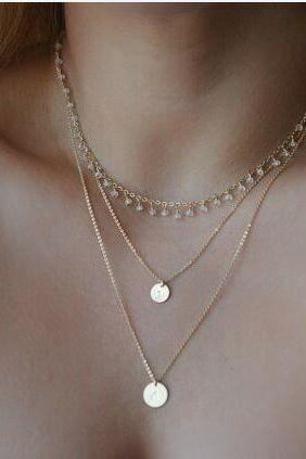 Chic Faux Crystal korálky Zdobené flitry mnohovrstevný náhrdelník pro ženy