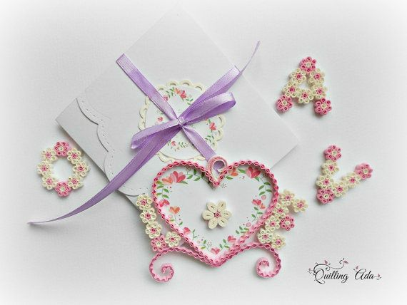 Customized love card/L & E /Quilled love by PaperArtbyAda on Etsy