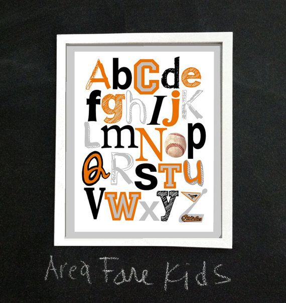 BALTIMORE ORIOLES baseball ABC Nursery Art Print by AreaFareKids