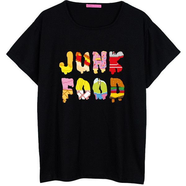 Junk Food Oversized T Shirt Boyfriend Womens Ladies Girl Fun Tee Top... ($22) ❤ liked on Polyvore