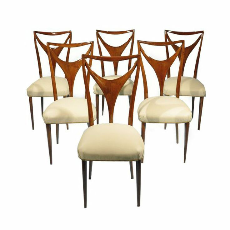Elegant Set Of 6 Italian Dining Chairs With Carved Y Form Back