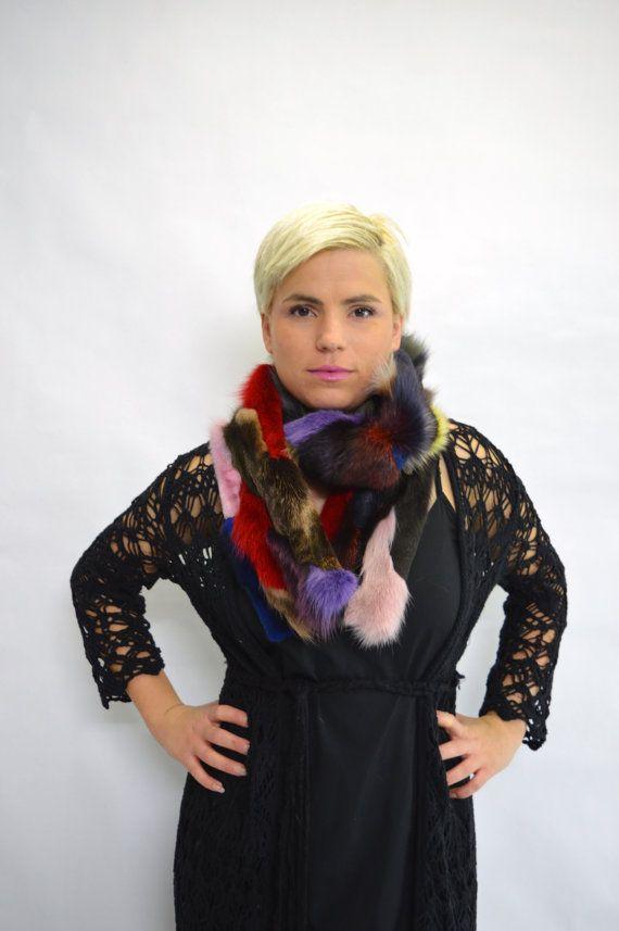 Real fur scarf fox fur scarf colourful fox fur scarf wrap by BeFur