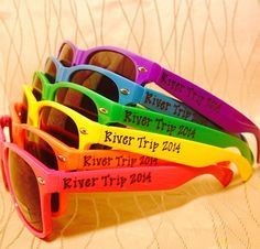 Personalized camping/float trip sunglasses by GreenBridalBoutique