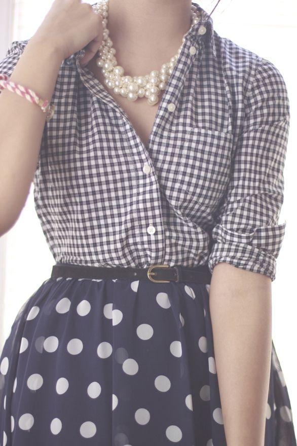 Gingham + polka dots + pearls - mixing patterns