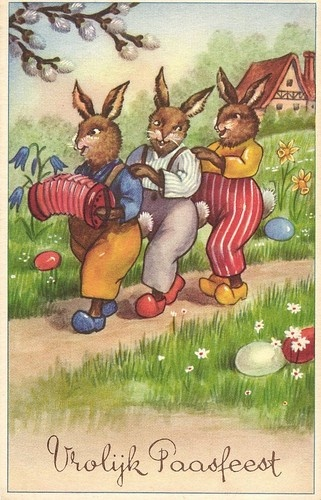 Easter bunnies making music accordion artist postcard 1952 | eBay