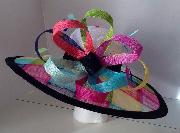 Multi color Wide Brim Sinamay Hat by AmyJoOH on Etsy
