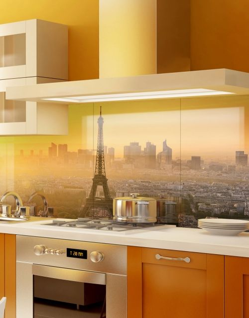 Printed Kitchen Splashbacks from https://splashacrylic.com Parisien-Sunset-Skyline-Kitchen-Acrylic-Picture-Splashbacks