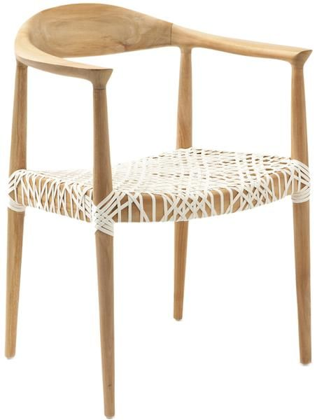 Bandelier Arm Chair Light Oak / Off White | Modern Dining Chair by Safavieh at Contemporary Modern Furniture  Warehouse - 1