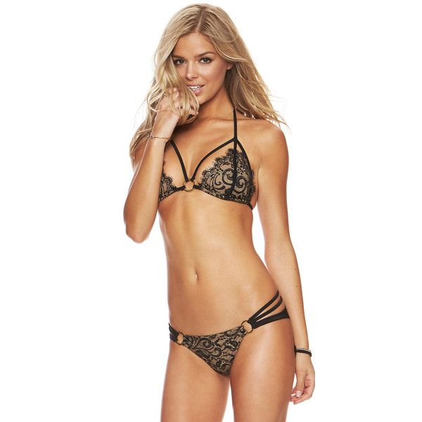 Beach Bunny Swimwear Gunpowder and Lace Black Bikini (1 365 ZAR) ❤ liked on Polyvore featuring swimwear, bikinis, bathing suits bikini, sexy bikini, sexy swim suits, bikini bathing suits and swim suits