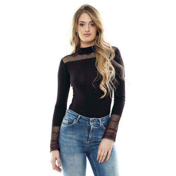 09852e6229 Long Sleeve Lace Bodysuit Top Blouse