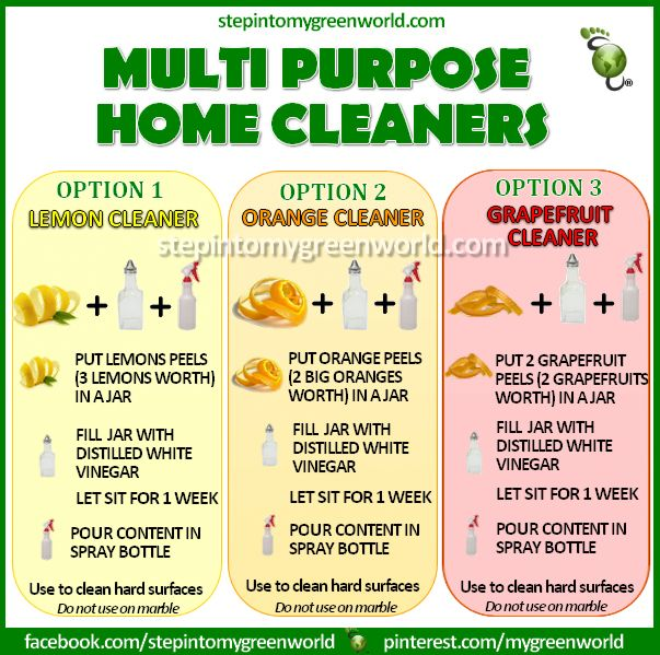 "☛ 3 GREAT ALL NATURAL ""MULTI PURPOSE"" HOME CLEANERS RECIPES FOR YOU!  Did YOU KNOW ? MOST conventional home cleaners contain TOXIC CHEMICALS such as 1.4 -Dioxane, Caustics and Phosphate. PLEASE MAKE THE CHANGE AND START DETOXING YOUR HOME.  FOR ALL THE DETAILS ON HOW TO MAKE THE HOME CLEANERS:  http://www.stepintomygreenworld.com/greenliving/around-the-home/multi-purpose-fruit-peel-cleaning-solutions/  ✒ Share 