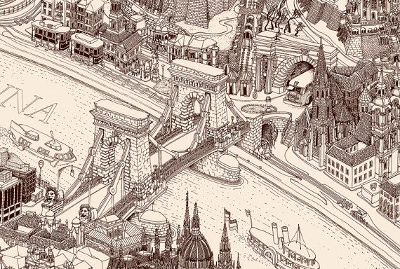 hand drawn birds eye view map of Budapest