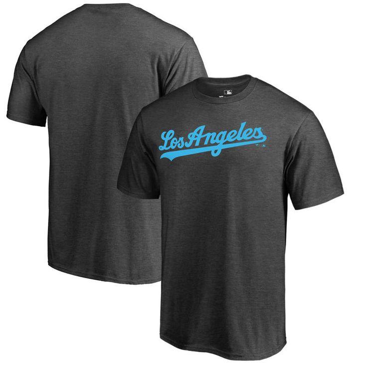 Los Angeles Dodgers Fanatics Branded Blue Wordmark T-Shirt - Charcoal
