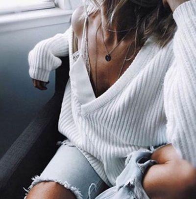 Camisola de malha de mangas compridas para mulher