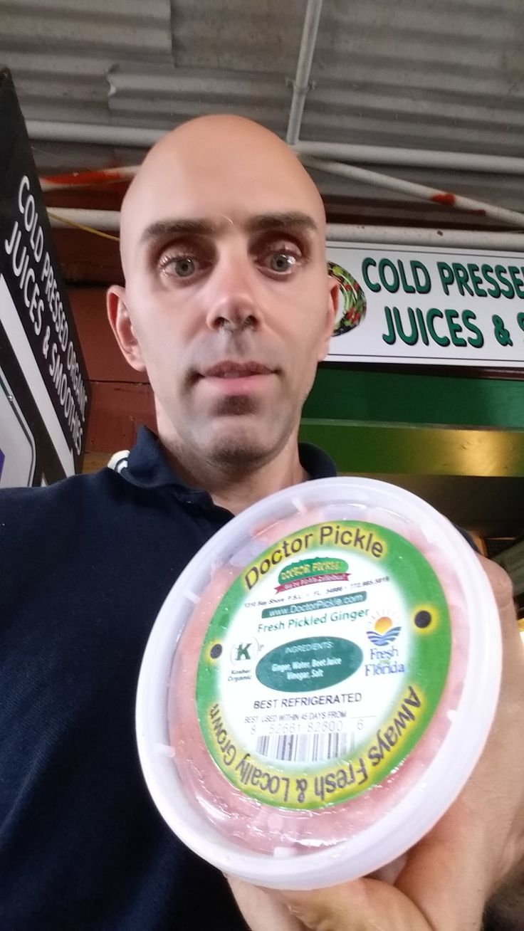 """I stumbled upon a small section at a farm store called """"Dr. Pickle"""", where the owner makes his own probiotic foods of various types all fermented naturally. I bought ginger brewed not only rich in probootics and digestive enzymes but ideal for its anti-inflammatory properties.#ginger #antinflammatory #probioticfoods"""