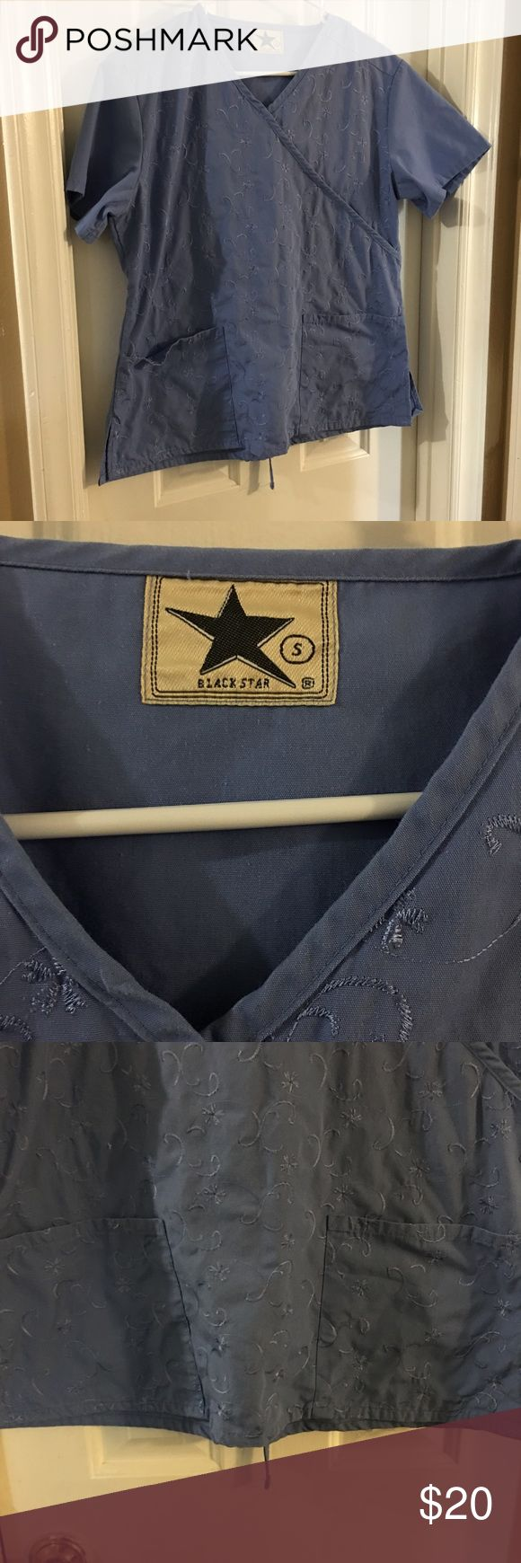 Black star scrubs set Black star scrub set in excellent condition top is a size small and bottoms are a size medium. Pants have a leg pocket back pocket in front pockets freshly washed today smoke free home.. bottoms are the same color as top black star Other
