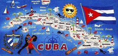 "Cuba Map Beach Towel - 30"" X 60"" - Velour - Made In Brazil"