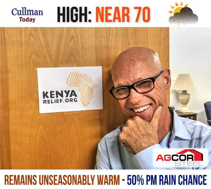 CULLMAN COUNTY WEATHER: MONDAY - December 26th  REMAINS UNSEASONABLY WARM - SOME RAIN TONIGHT - High 70°  TODAY: Cullman County weather will remain unseasonably warm with a high temperature 70°. Skies will be mostly cloudy with a steady south wind at 10 mph.  A 20 percent chance of light rain showers exists as the day progresses. Rainfall amounts will be under 1/10 inch .... if precipitation does appear.