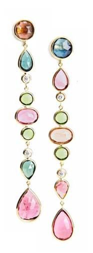 Jemma Wynne: Long Duster Drop Earrings of Mixed Shapes and Colors of Tourmaline and Diamonds