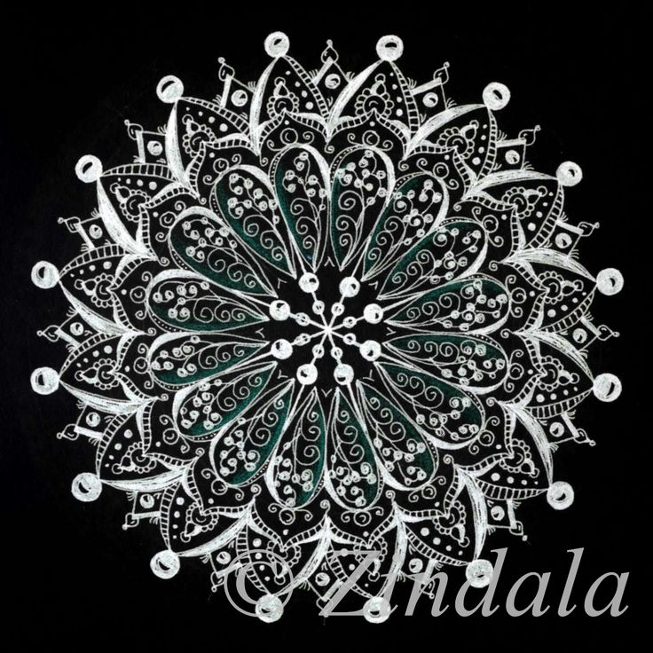 Zentangle mandala black and white