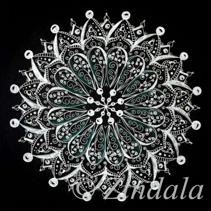 Zentangle mandala black and white