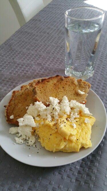 Day 2 Breakfast - Scrambled eggs with feta and homemade buckwheat toast #IQS8WP