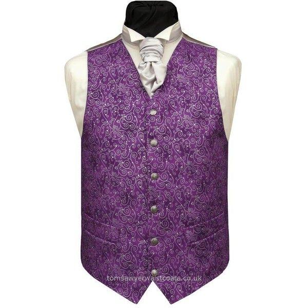 Silver Metallic Swirls on Purple Waistcoat Wedding Waistcoats ($80) ❤ liked on Polyvore featuring outerwear, vests, waistcoat vest, purple waistcoat and purple vest