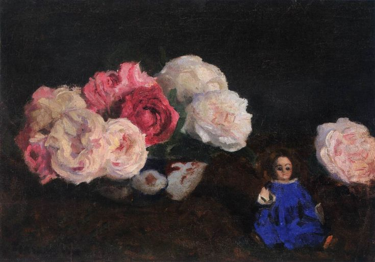 Károly Ferenczy Roses with Blue Doll 1901