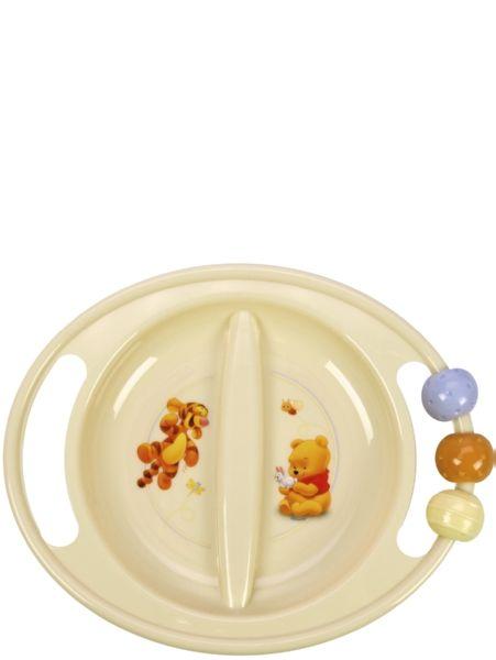 Nalle Puh ABC -lautasen hauskat, pyörivät helmet saavat pienokaisen mielenkiinnon pysymään ruokailussa. Lautanen on mikronkestävää polypropyleenia ja siinä on liukumaton pohja.