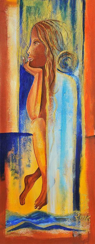 Die Taufe von Jeanett Rotter Figurative Kunst, Frau, Mädchen, Wasser, Wasserfall,