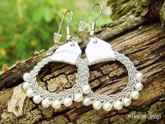 Lapland Jewelry RIMFAXE Swedish Viking Sami Earrings Custom Handmade in finest Spun Pewter thread, Silver Reindeer Leather and White Swarovski Pearls.