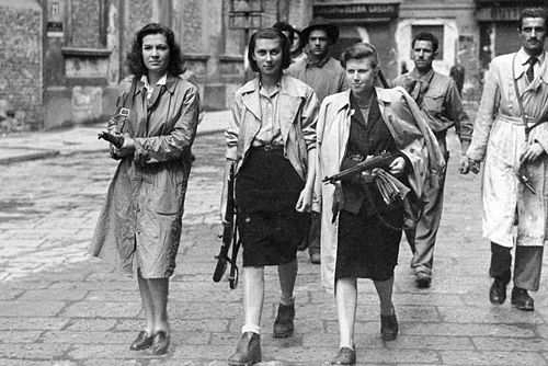 italian partisans of the partito d'azione, the anti-fascist party of italy, during the liberation of milan.