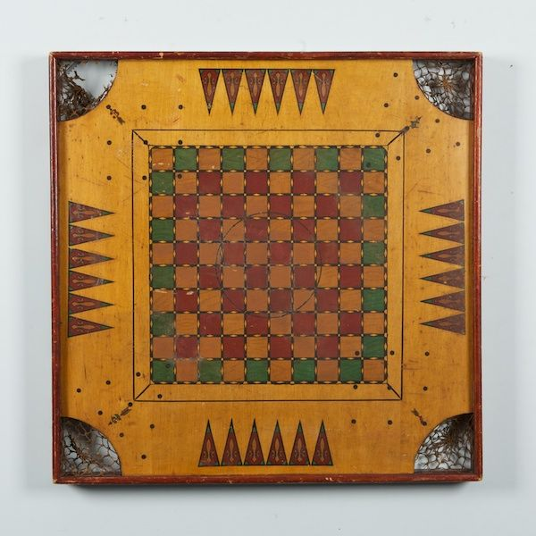 Antique Painted Game Board - at www.judyfrankelantiques.com
