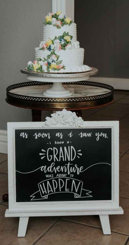 Sweet chalkboard sign for cake table - A Vintage Fairytale at Stonegate Manor | WeddingDay Magazine