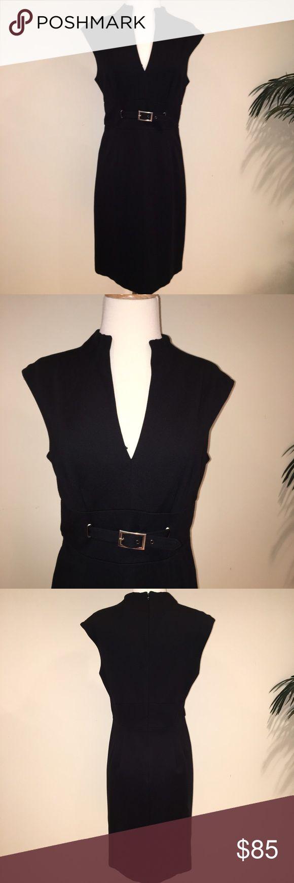Trina Turk black pencil dress Trina Turk black pencil dress wit low V cut neck and belt detail. Great dress! Excellent condition! Trina Turk Dresses Midi