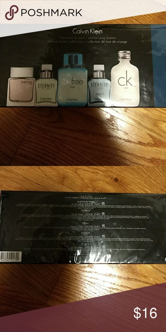 Calvin Klein Cologne Set NWOT: Calvin Klein Cologne Set contains 5 different fragrance from the Calvin Klein collection. The box has never been open and still has the original wrap around the box.   The fragances are 1. Euphoria men (0.33 FL OZ) 2. Eternity for men (0.33 FL OZ) 3. CK Free Blue (0.33 FL OZ) 4. Eternity Aqua (0.33 FL OZ)  5. CK one (0.33 FL OZ) Calvin Klein Other