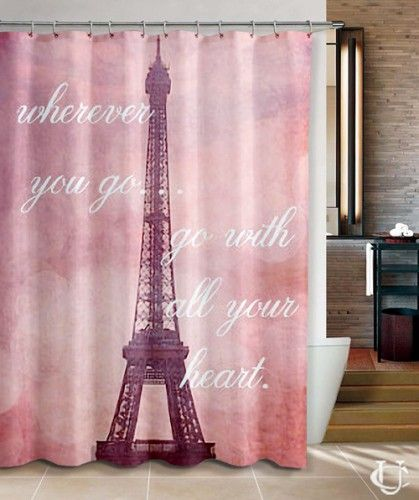 Cheap Travel Quote, Eiffel Tower in Paris Shower Curtain